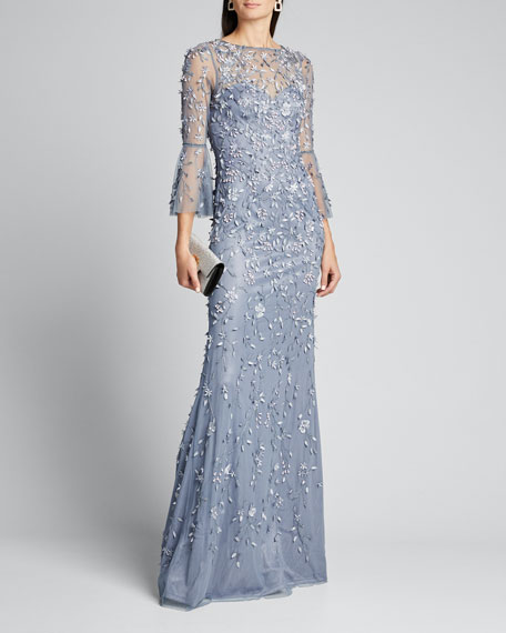 Image 1 of 1: Hand Beaded & Petal Applique 3/4 Bell-Sleeve Column Gown