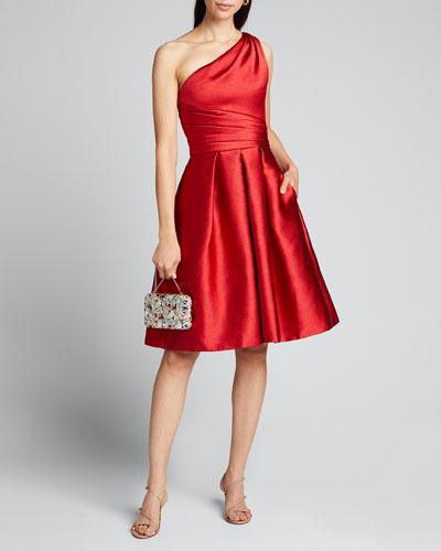 One-Shoulder Sleeveless Pebble Mikado Party Dress