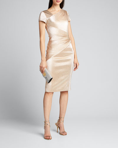 Stretch Metallic Cap-Sleeve Asymmetrical Draped Sheath Dress