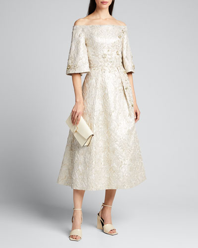 Beaded Metallic Jacquard Off-the-Shoulder Bell-Sleeve Midi Dress