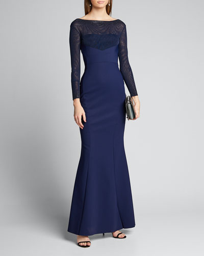 Mesh Boat-Neck Long-Sleeve Gown with Beading