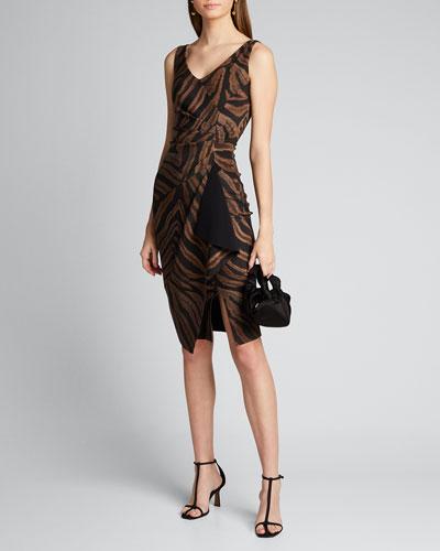 Zebra Striped V-Neck Sleeveless Asymmetric Drape Dress