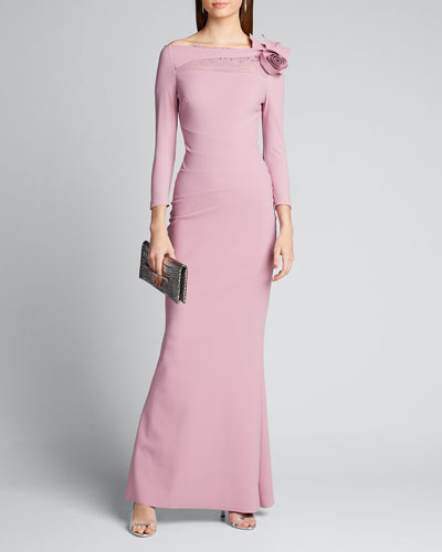 High-Neck 3/4-Sleeve Gown with Rosette Shoulder
