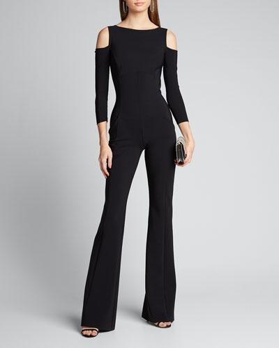 Cold Shoulder Long-Sleeve Jumpsuit