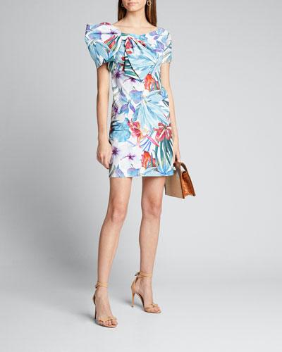 Bow Neck Cap-Sleeve A-Line Dress