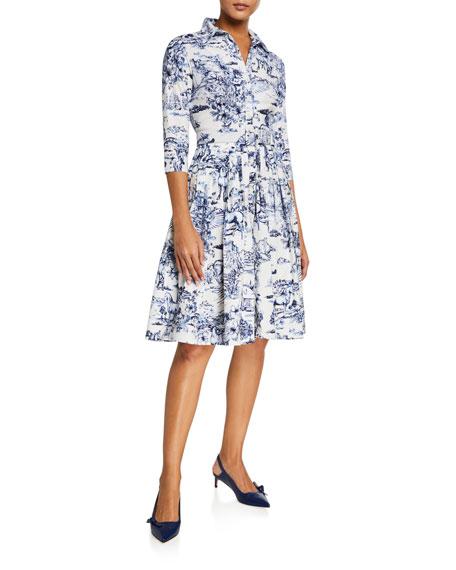 Audrey Da Vinci Toile Stretch Cotton Belted Dress