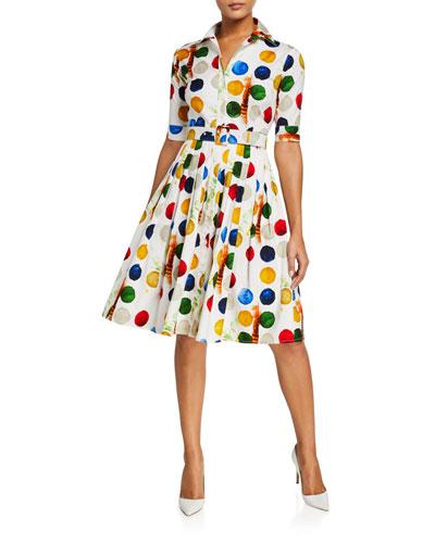 Audrey Impressionist Dots 1/2-Sleeve Stretch Cotton Shirtdress