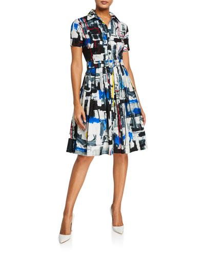 Audrey Short-Sleeve Newman Abstract Stretch Cotton Shirtdress