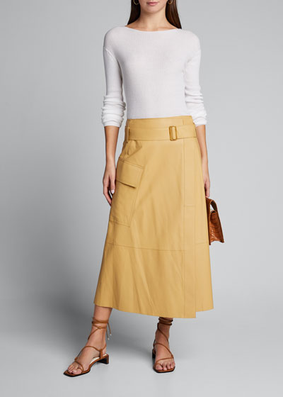 Belted Leather Wrap Skirt