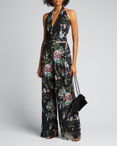 Bouquet Floral V-Neck Halter Jumpsuit