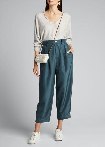 Double V-Neck Cashmere-Linen Sweater