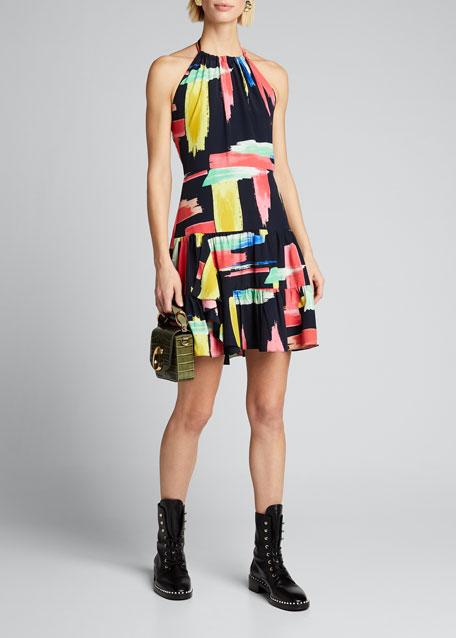 Modern Brushstroke Print Tiered Halter Dress