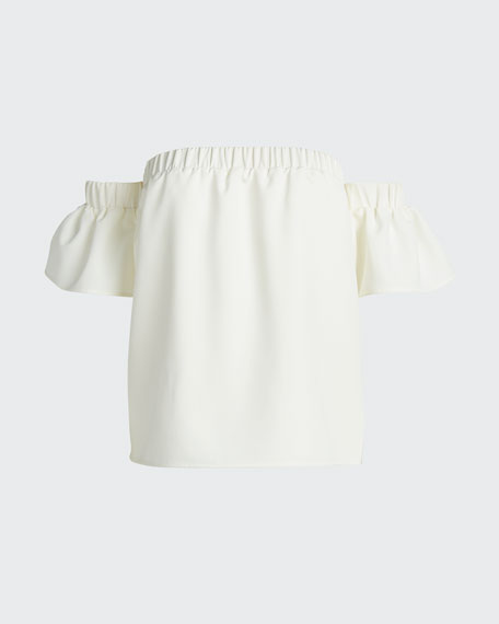 Off-the-Shoulder Flutter-Sleeve Cady Top