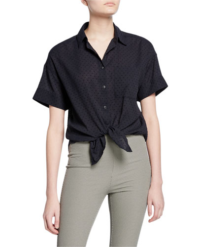 Lenny Short-Sleeve Button-Down Tie-Hem Shirt