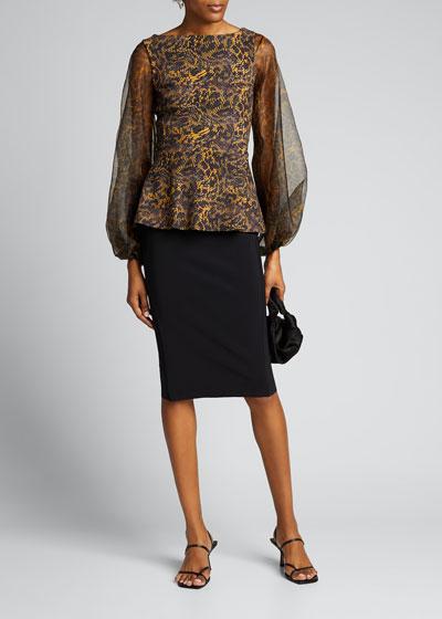 Hasana Printed Organza Sheer-Sleeve Peplum Dress