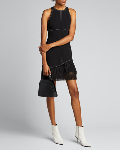 Cathy Sleeveless Crepe Dress with Pleating