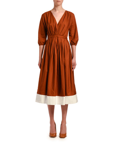 Pleated 3/4-Sleeve Poplin Midi Dress