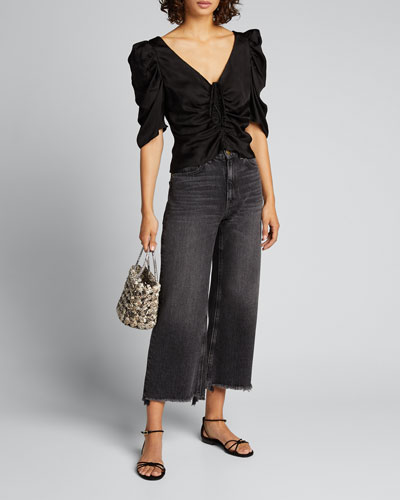 Betty Ruched Puff-Sleeve Top