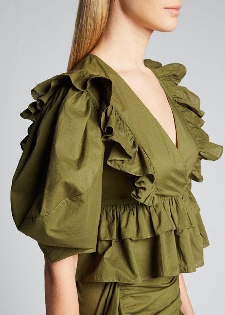 Elodie Puff-Sleeve Ruffle Crop Top