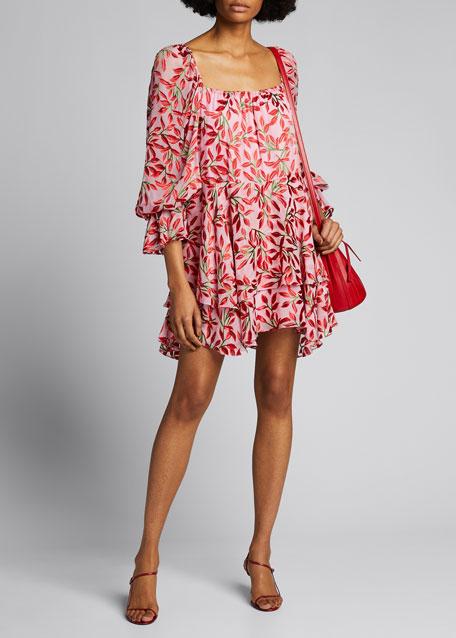 Debra Square-Neck Ruffle Dress