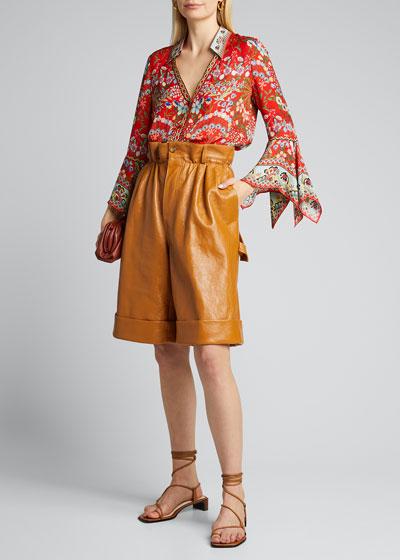 Randa Trumpet-Sleeve Button-Down Shirt