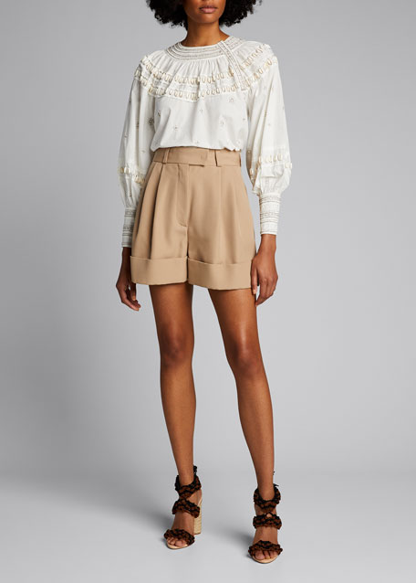 Image 1 of 1: Tana Beaded Poplin Long-Sleeve Blouse