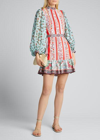 Raya Mandarin-Collar Dress
