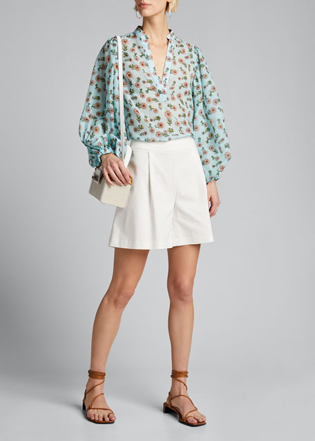 Image 1 of 1: Casey Mandarin-Collar Balloon-Sleeve Blouse