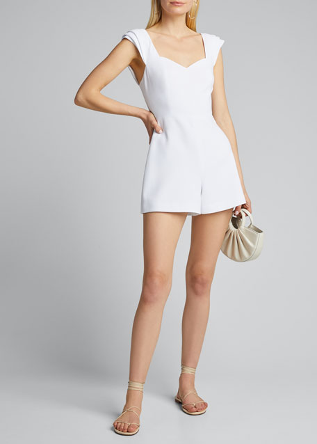 Image 1 of 1: Iman Pleated-Sleeve Romper
