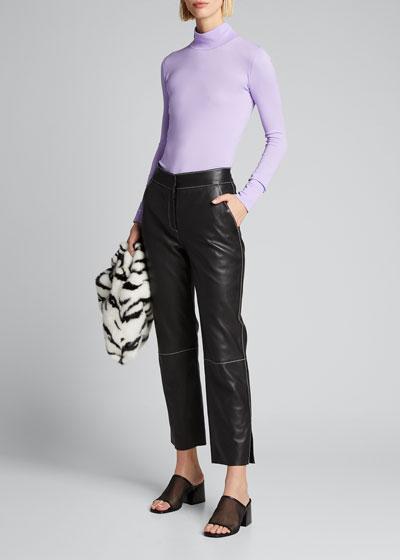 Zoe Lamb Leather Straight-Leg Pants