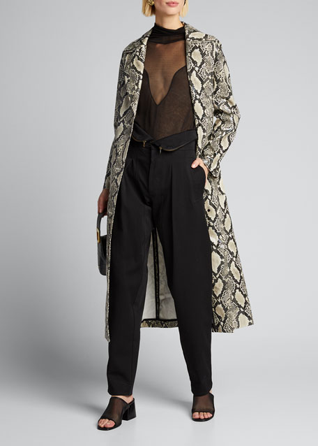 Image 1 of 1: Mollie Long Snake-Print Coat