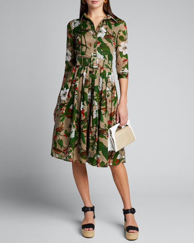 Audrey 2 Hibiscus Print Belted 3/4-Sleeve Shirtdress