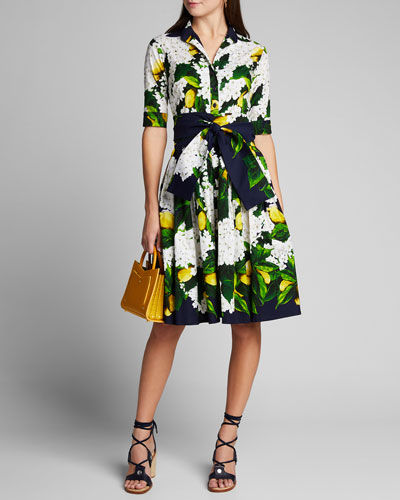 Audrey 2 Lemon Tree Blossom 1/2-Sleeve Belted Shirtdress