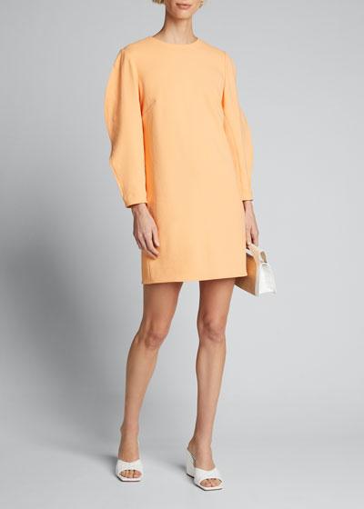 Chalky Drape Origami-Sleeve Shift Dress