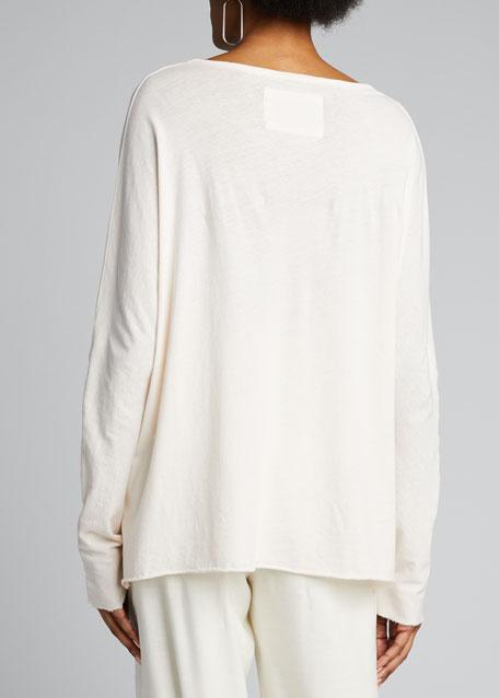 Deep V-Neck Long-Sleeve Jersey Cotton Tee