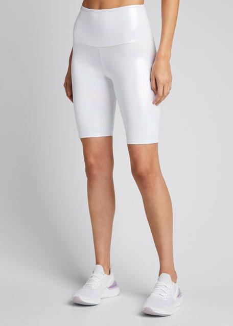 Metallic High Rise Athletic Bike Shorts - Unicorn