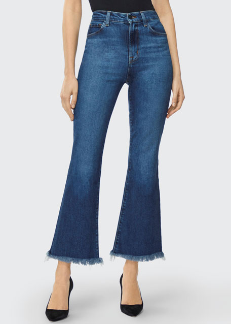 Julia High-Rise Flare Jeans with Shredded Hem