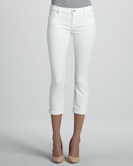 7 For All Mankind Skinny Crop & Roll Jeans, Clean White