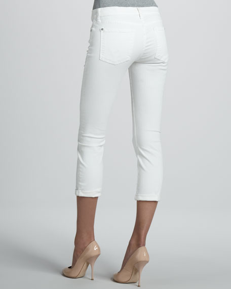 Skinny Crop & Roll Jeans, Clean White