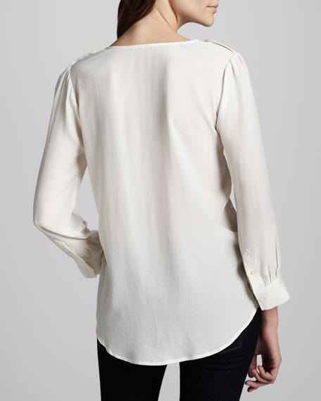 Marlo Silk Double-Pocket Top, Porcelain