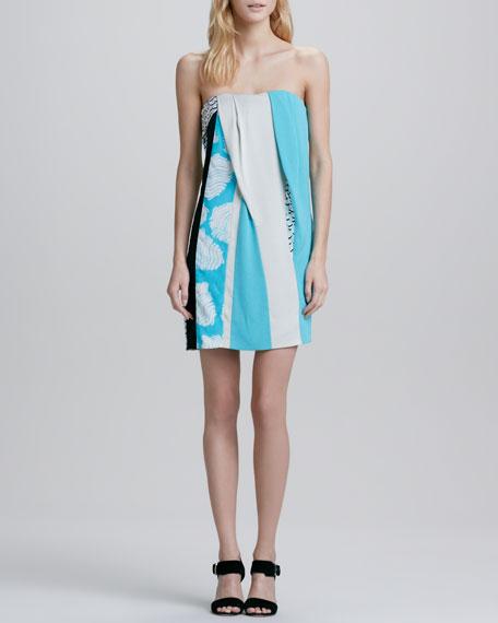 Rhi-Rhi Strapless Mixed Print Dress