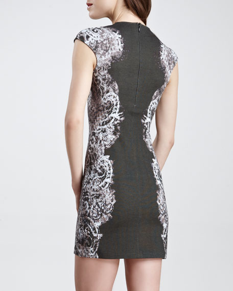 Lace-Print Cap-Sleeve Sheath Dress, Black/Gray