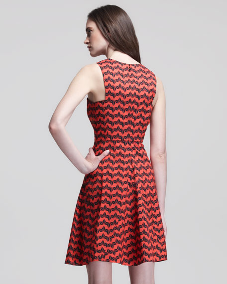 Sleeveless Printed Godet Dress