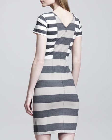 Striped Side-Panel Sheath Dress