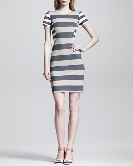 Striped Side-Panel Sheath Dress