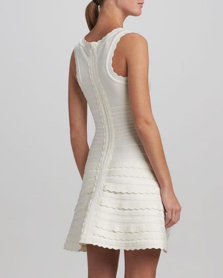 Scallop-Trim A-Line Bandage Dress, Alabaster