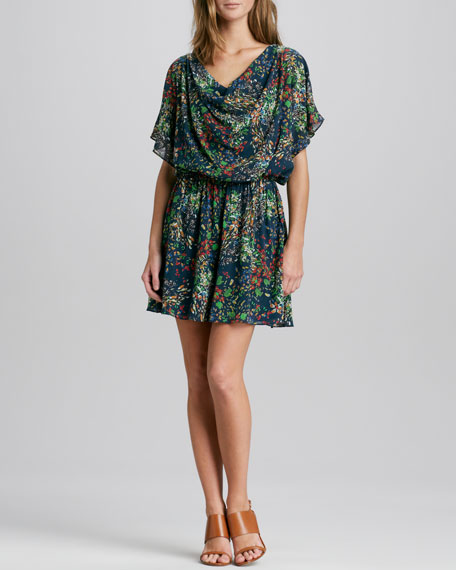 Melee Printed Draped Dress