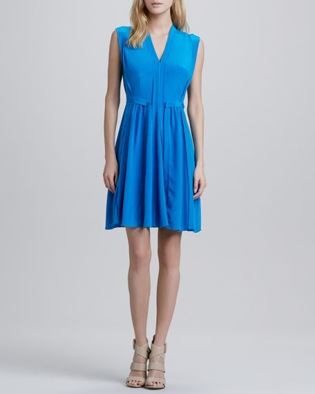 Pleated Reverse-Seam Dress