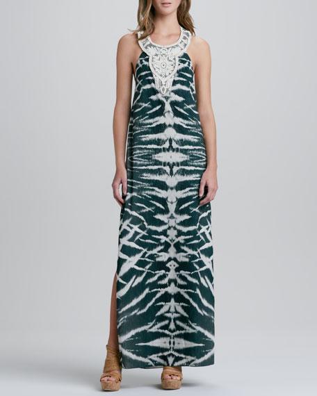 Embellished-Neck Halter Gown