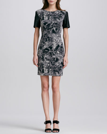 Printed Leather-Sleeve Dress